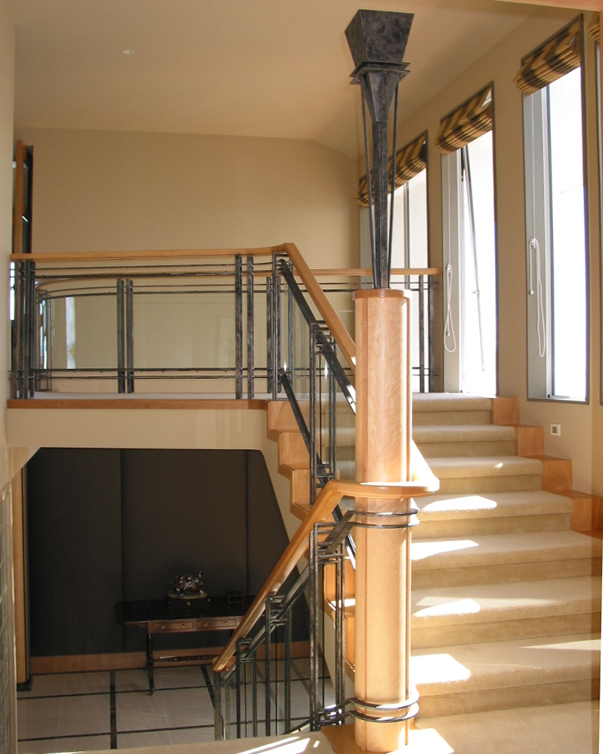 Uplight & Balustrade: wrought iron balustrades from Tasman Forge, NZ