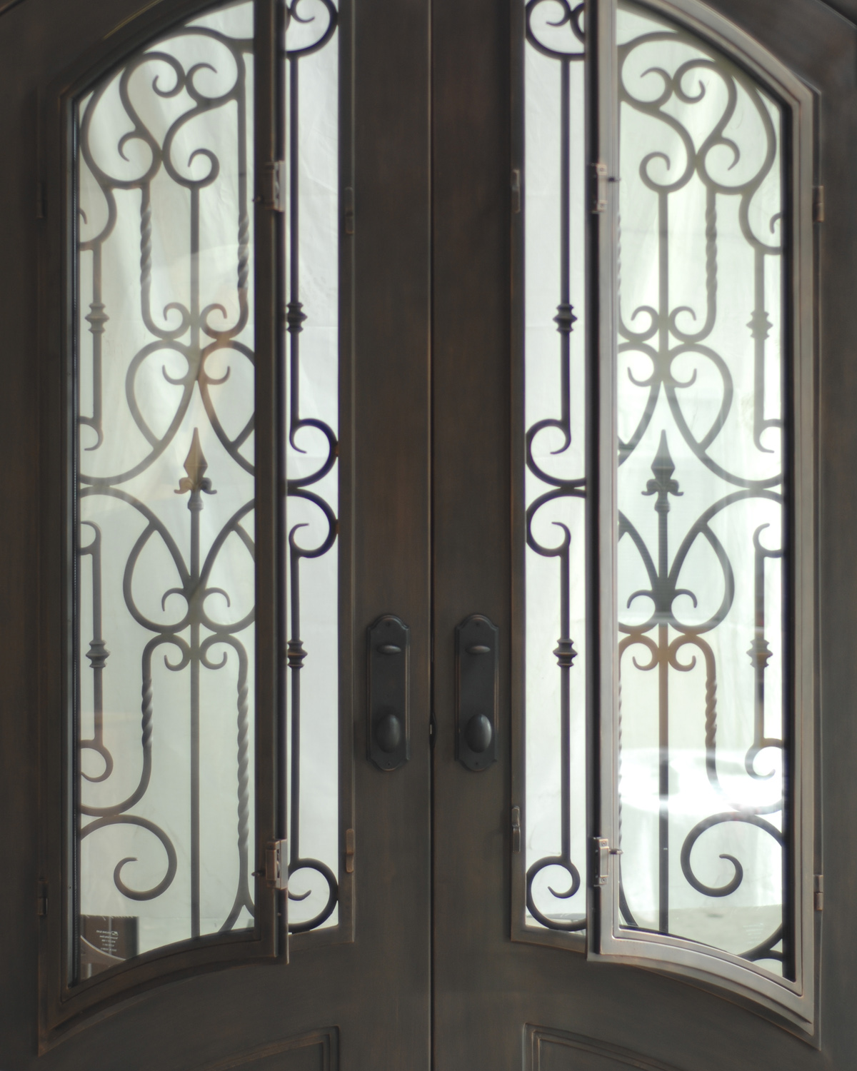 Verona entrance door wrought iron scrollwork